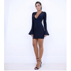 Vestido curto manga longa - preto