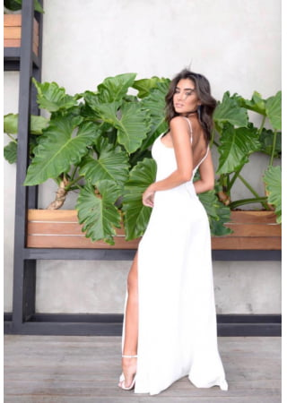 VESTIDO FENDA OFF WHITE